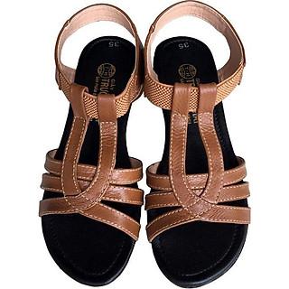 Giày sandal nữ Trường Hải đế cao 2.5cm quai dép da bò thật không nổ da đế cao su không trơn thời trang cao cấp SDN082
