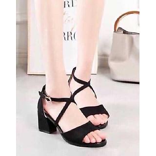 Giày / Sandal Cao Gót Nữ Da Nỉ Cao Cấp Đế Vuông Cao 7 cm Quai Chéo Bản Lớn Màu Đen Cao Cấp, Mẫu Mã Hiện Đại YNCG68