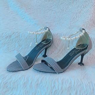 Giày cao gót đẹp nữ 8 phân Caro Đen Trắng Hở Đầu Gót Đen Nhọn Quai Vòng Chuỗi Cổ Chân Sang Trọng (Hình thật,Tặng ví cầm tay đi tiệc)