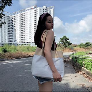 Túi đeo vai vải bố phối màu dễ thương, phối giữa vải da PU và vải bố, chất vải nhẹ nhàng
