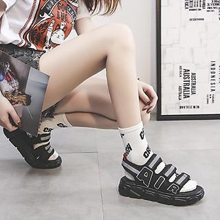 Dép sandal nữ quai ngang độn đế phản quang hot trend