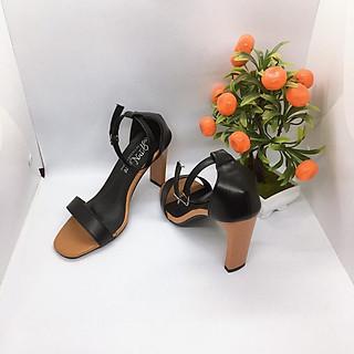 Giày Cao Gót vuông 9p Quai Ngang Màu