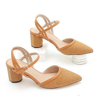 Giày Cao Gót 6cm Bít Mũi Quai Hậu Vải Thô Pixie X378