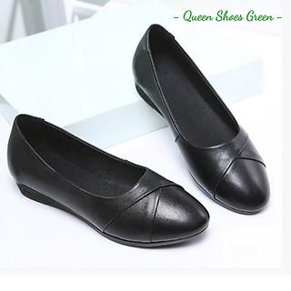 Giày búp bê nữ đế bằng, giày đế bệt nữ da mềm mũi nhọn hàng VNXK màu đen đế cao su đúc siêu mềm tôn dáng lót êm ái size 36 đến 40 - Cam kết hàng chất lượng - Viền bệt