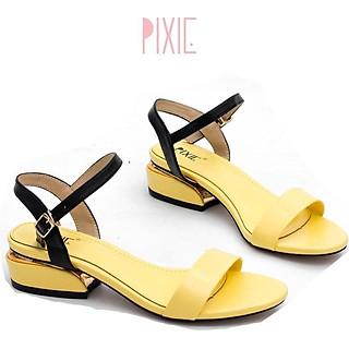 Giày Sandal 3cm Quai Mảnh Đế Vuông Viền Kim Loại Màu Đen Pixie X429