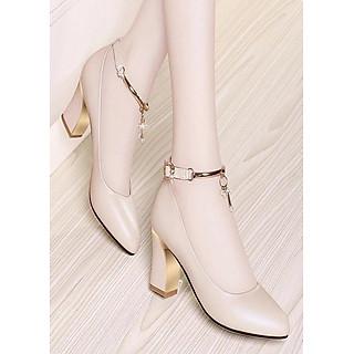 Giày gót vuông bít mũi phối lắc sang trọng - CG216