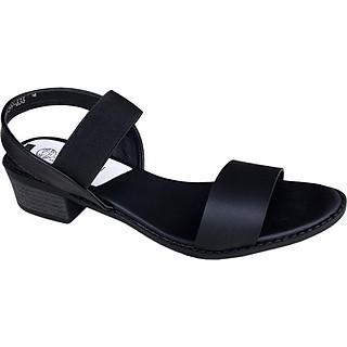 Giày sandal nữ Trường Hải gót vuông 4cm màu đen đế cao su mềm dẻo chống trơn thời trang cao cấp XDN236