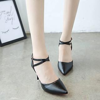 Sandals mũi nhọn bít gót nhọn 7cm quai chéo ôm cổ chân kiểu dáng sang trọng da PU lì C28