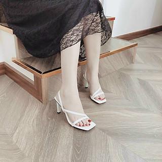 Sandal/ Giày Cao Gót Nữ Đi Tiệc Đẹp Mũi Vuông Đế Hình Chữ V Lạ Cao 7 Phân Phong Cách Hàn Quốc.