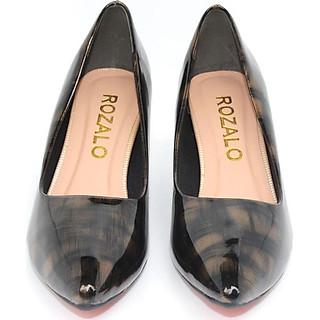 Giày cao gót 5P da bóng mũi nhọn Rozalo R5635