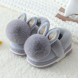 Giày bốt thỏ xám giữ ấm cổ thấp dễ thương cho bé trai 1-3 tuổi