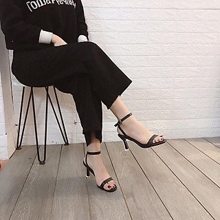 Sandal quai ngang gót mika bọc viền pha lê cực sang-sandal nữ, sandal nữ cao gót, sandal cao gót, sandal-gót mika bọc viền pha lê, 7cm