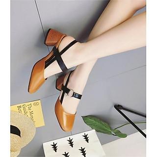 Giày Sandal nữ gót vuông gỗ độc đáo