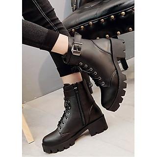 Boot nữ cổ ngắn đế thô 5cm hiện đại GBN25