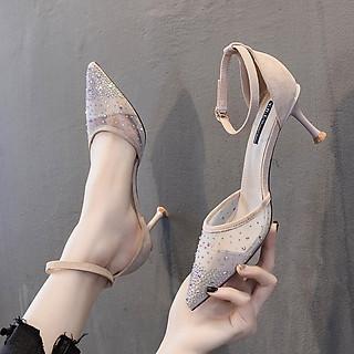 Giày cao gót nữ mũi phối lưới đính đá cao cấp - Giày nữ gót cao 7cm - Giày bít mũi phối lưới đính đá da mềm 2 màu Đen và Kem - Linus LN275