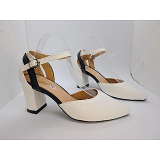 Giày cao gót nữ/ Sandal Cao Gót Nữ Da Mền Đẹp Phối Màu Đen Trắng Bít Mũi Đế Vuông Cao 7 Cm, 7 PhânThời Trang Nữ Phong Cách Hàn Quốc  YUUNACG0126