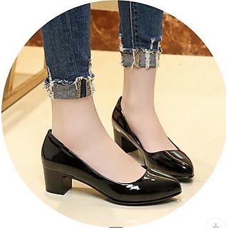 Giày cao gót nữ công sở da bóng đế 4p hàng VNXK dáng basic siêu bền M18