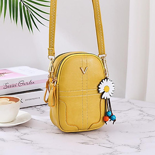 Túi đeo chéo đựng điện thoại chất liệu da tặng kèm móc hoa cúc thời trang QN040820