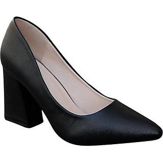 Giày Cao Gót Nữ Đẹp 7 Phân Da Mềm Bít Đầu Đế Vuông Trơn