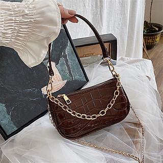 Túi kẹp nách nữ da vân cá sấu, có dây đeo thời trang phối dây xích siêu hót TK0061