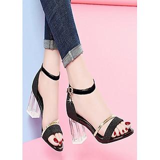Giày sandal cao gót đế trong cao cấp