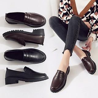 Giày loafer da mềm đế răng cưa