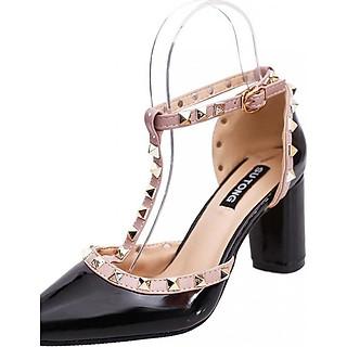 Giày sandal cao gót vuông 7 phân tán đinh cao cấp