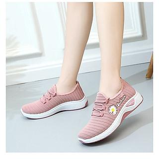 Giày Sneakers nữ cổ thấp hoa cúc thời trang mẫu mới cao cấp VLG185 Kèm móc khóa cá heo