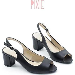 Giày Cao Gót 5cm Hở Mũi Hở Gót Màu Kem Pixie P180