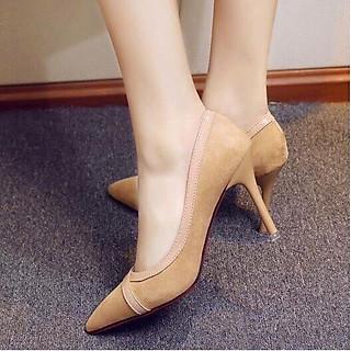 Giày cao gót phối viền da bóng cao cấp