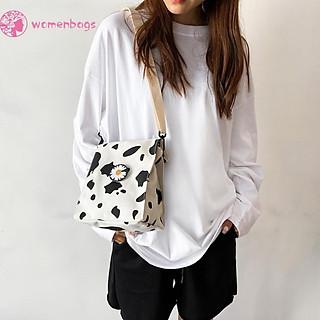 túi đeo vai dành cho nữ Vải Canvas Đeo Chéo In Họa Tiết Hoa Cúc Xinh Xắn Dành Cho Nữ