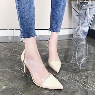 Giày cao gót nữ 7p gót nhọn da bóng phối mica siêu xinh GC77