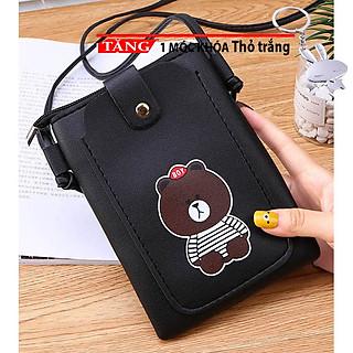 Túi đeo chéo nữ mini đựng điện thoại đeo chéo thời trang dọc nắp hình gấu nâu ngộ nghĩnh AA41 Tặng móc khóa thỏ trắng