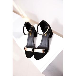Giày Sandal Nữ Đẹp / Cao Gót Hở Mũi Da Nhung Phối Bản Quai Đồng Khóa Kéo Chân 7 Phân - 7cm CTS-CG