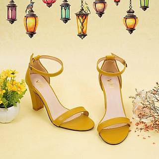 Giày sandal nữ cao gót, chiều cao gót 9CM, da Microfiber nhập khẩu cao cấp êm ái, bền chắc và thời trang, mũi tròn, gót trụ vững trãi bọc da đồng màu sang trọng và chắc chắn, thiết kế đơn giản, tinh tế, thời trang: SD.V04.9F