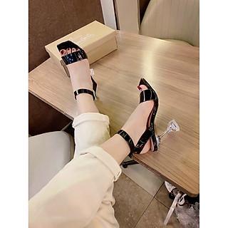 Sandal/ Giày Cao Gót Nữ  Đi Tiệc Đẹp Quai Cài Hình Hoa Đế Hình Nón Cao 9 Cm Phong Cách Hàn Quốc.
