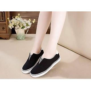 Giày lười nữ vải cotton đế cao su mềm 3p