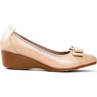 Giày búp bê nữ, cao 3CM, da thật êm ái. Mũi tròn,gắn nơ sang trọng, đế xuồng vững trãi: BB.MTR1.3F
