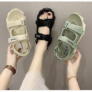 Giày sandal nữ quai dán vải dù 3 màu đế cao 5cm phong cách Ulzzang S118