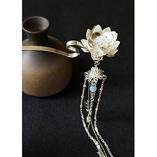 Trâm hoa sen cài tóc nữ gắn rua liên hoa cổ trang Trung Quốc cosplay tặng ảnh thiết kế vcone