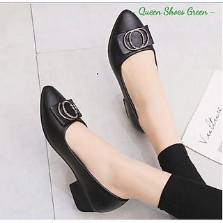 Giày búp bê nữ công sở đính nơ cao cấp, giày trung niên nữ gót vuông 4 phân mũi nhọn da mềm hàng VNXK màu đen đế cao su đúc siêu mềm tôn dáng lót êm ái size 36 đến 40 - Cam kết hàng chất lượng - Nơ tròn 4 phân