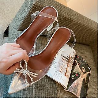 [ ẢNH THẬT] Giày Cao Gót Nữ Gót Nhọn, Bít Mũi, Quai Trong, Họa Tiết Nơ Đính Hạt, Êm Chân theo Phong Cách Hàn Quốc, 7cm