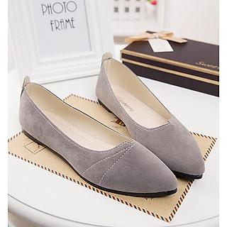 Giày đế bằng búp bê nữ da lộn full size nhiều màu V215