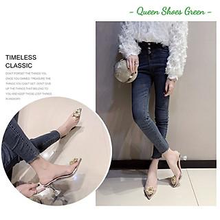 Giày cao gót nữ - Dép, guốc cao gót 9 phân hở mũi quai trong suốt đính nơ hoa cúc vàng gắn đá kim cương size 35 đến 39