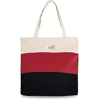 Túi tote đeo vai thời trang Covi phối 3 Màu - đỏ vải canvas