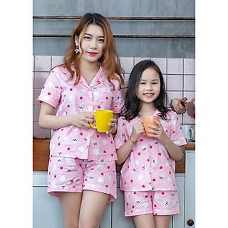 Đồ bộ Pijama mẹ và bé màu hông thỏ dâu