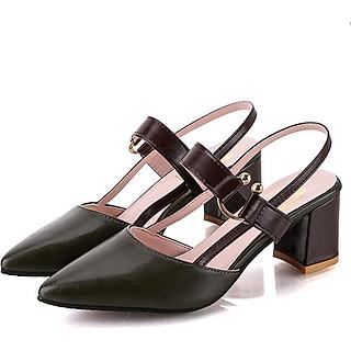 Giày cao gót nữ gót vuông LAHstore, thiết kế mũi nhọn hở gót sang trọng, thời trang trẻ, phong cách Hàn Quốc