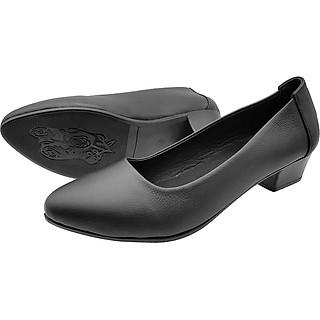 Giày Gót Vuông Cao 3cm Da Bò Thật Cao Cấp, Cực Mềm Đơn Giản Sang Trọng 3P0216