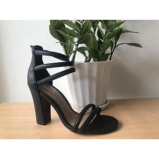 alpha-giày sandal quai sợi mảnh da thật gót cao 9cm