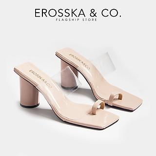 Dép cao gót Erosska thời trang mũi vuông xỏ ngón phối mica trong cao 9cm EM037
